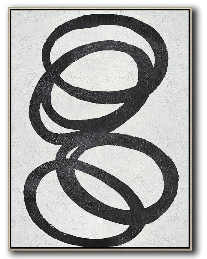 Black And White Minimal Painting On Canvas,Abstract Oil Painting #X1S1